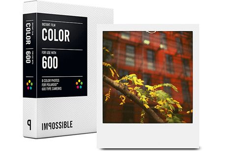 Impossible Project's new instant Color Film for 600 type Polaroid Cameras, offers ease of use and intense color saturation. Each pack includes 8 exposures that offer a high level of detail, sharpness