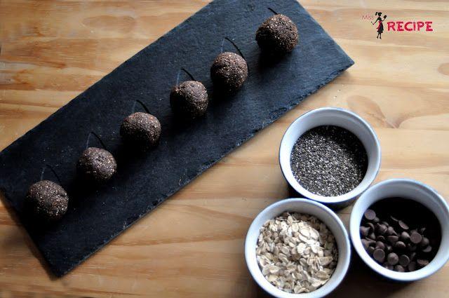 Boules d'énergie chia chocolat | Chia chocolate energy balls - Miss-Recipe.com