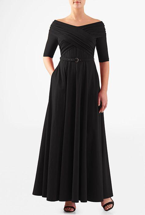 Pleated cross front cotton knit belted maxi dress #eShakti
