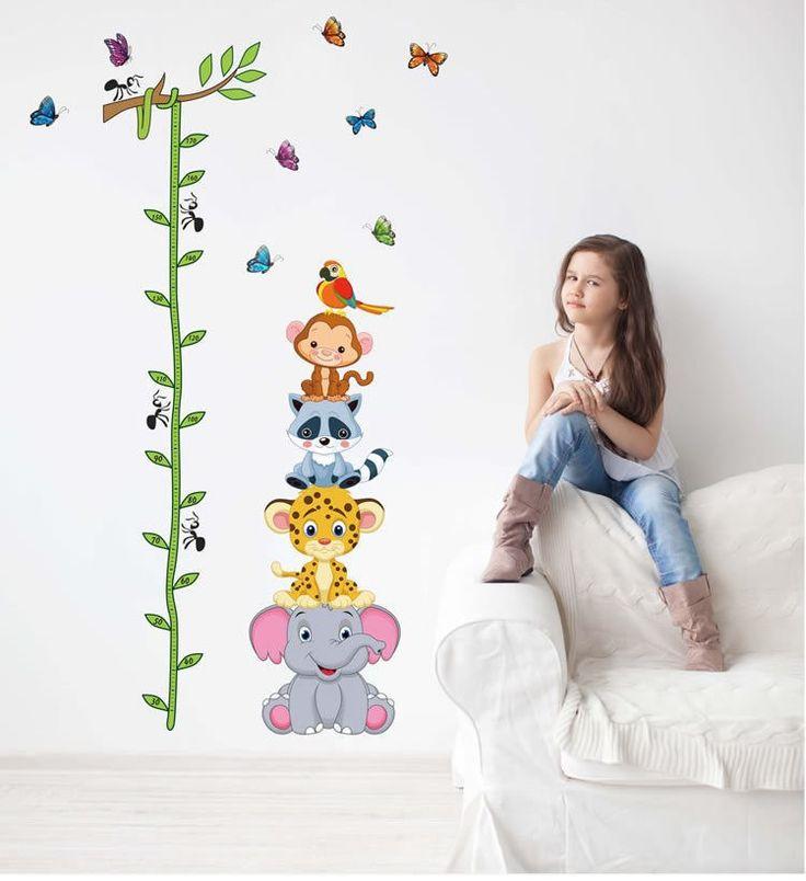 cute animals stack height measure chart wall decals kids adhesive cartoon vinyl paper stickers girls boys room nursery decor
