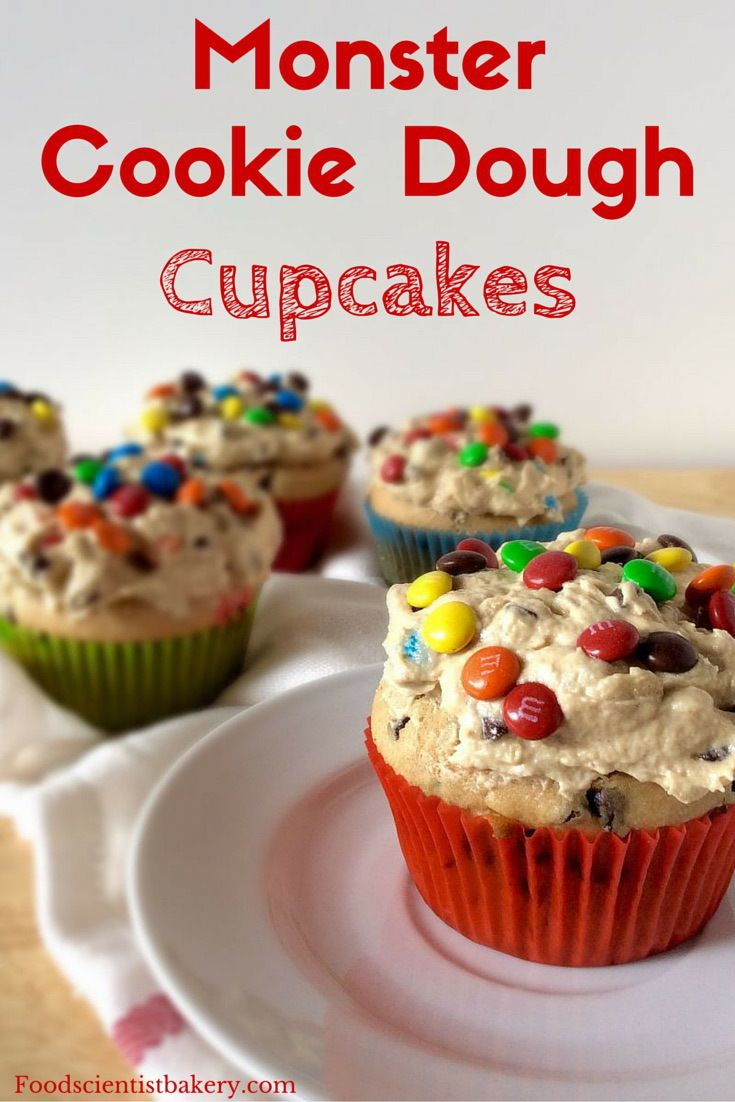 Monster Cookie Dough Cupcakes- M&M's, chocolate chips, oats, peanut ...