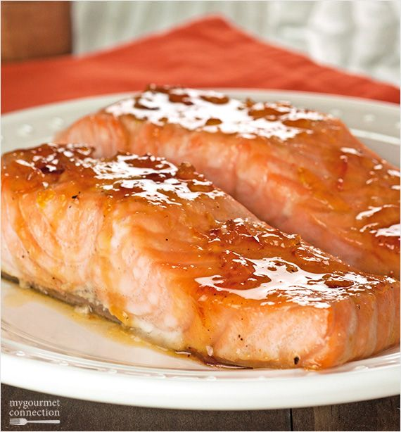 Glazed with a combination of orange marmalade and bourbon whiskey, this easy, oven-roasted salmon makes a terrific weeknight dinner.