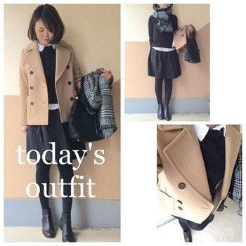 コートスタイルの着こなし。ニットにシャツ×スカートスタイルにはサイドゴアのブーツが人気のようです!真冬の着こなしにおすすめです。