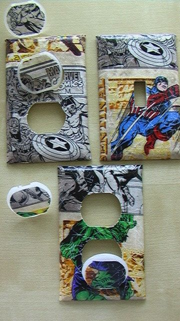 Marvel Avengers  Wolverine Spiderman Iron Man Hulk Captain America Thor Single Switch Plate and 2 Outlets includes child safety plugs. $9.00, via Etsy.