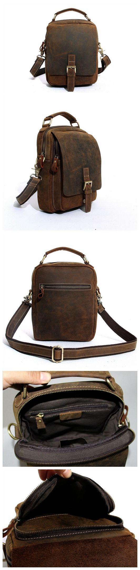 Handcrafted Vintage Crazy Horse Leather Messenger Bag, Shoulder Bag, Mens Satchel Handbag