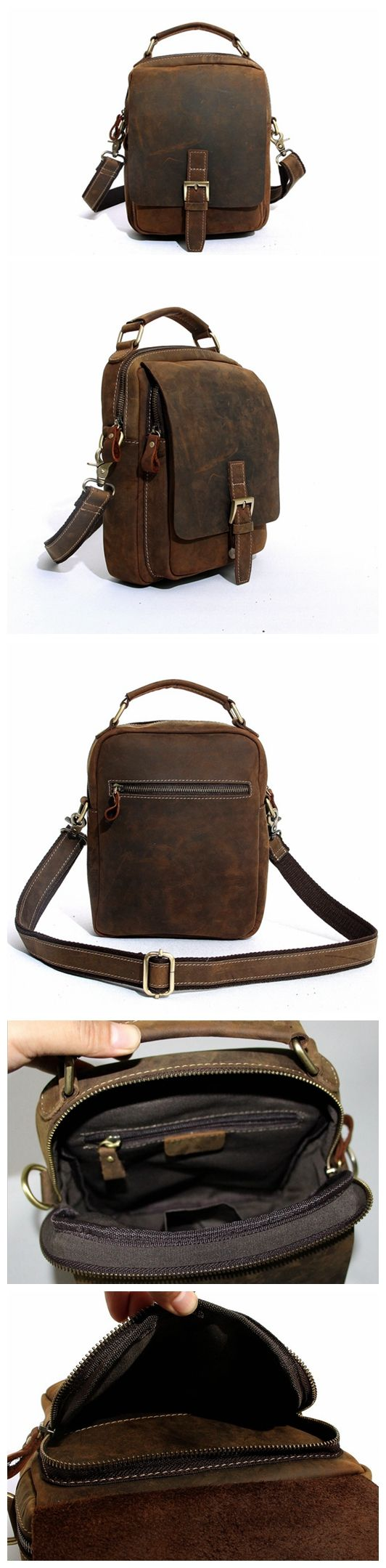 Handcrafted Vintage Crazy Horse Leather Messenger Bag, Shoulder Bag, Mens Satchel Handbag