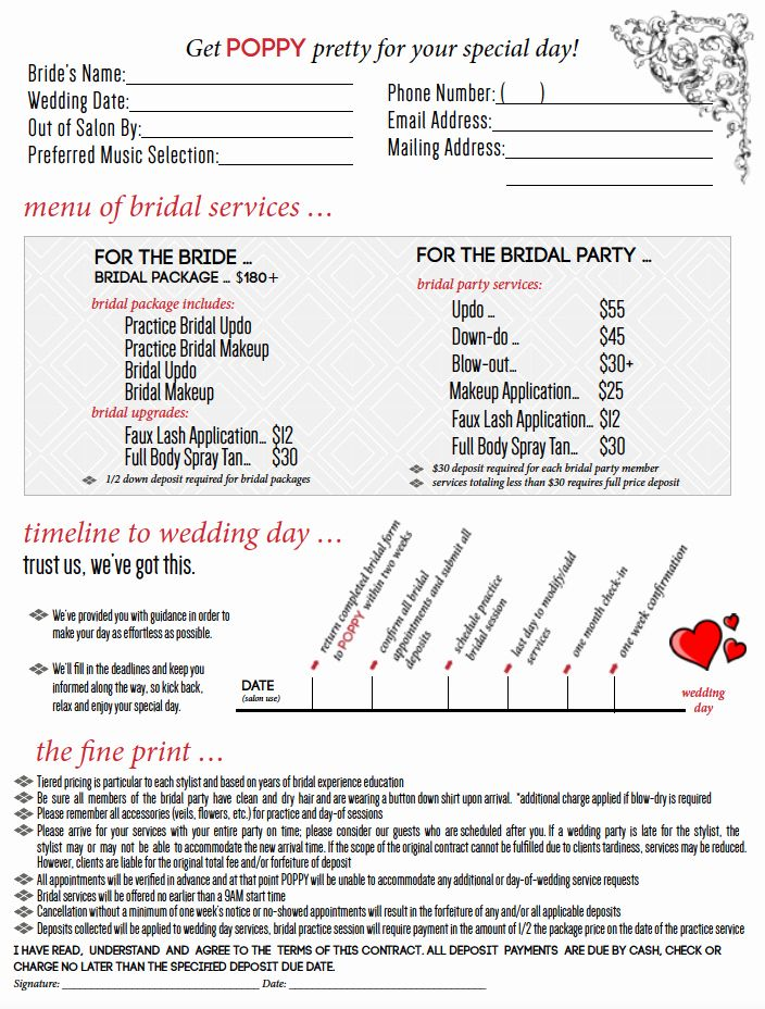 Hair Stylist Contract For Wedding New Makeup Bridal Contract Bridal Packages Wedding Stylists