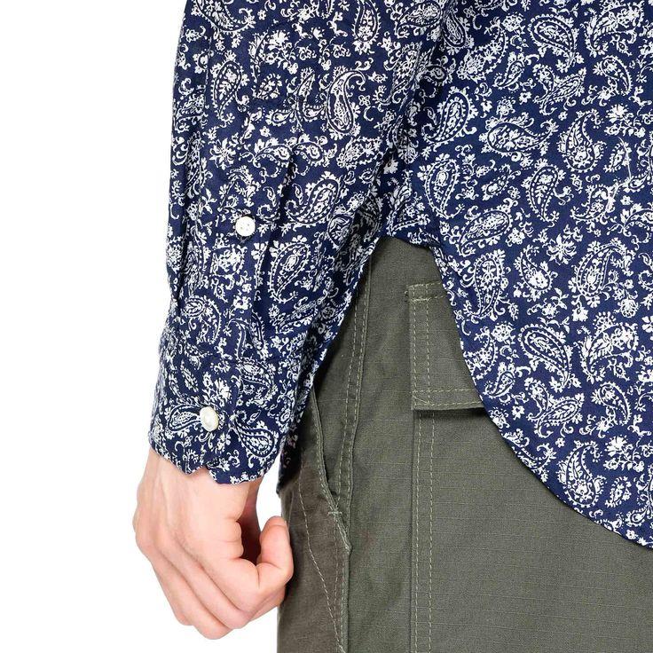 Engineered Garments Banded Collar Shirt - Paisley Lawn