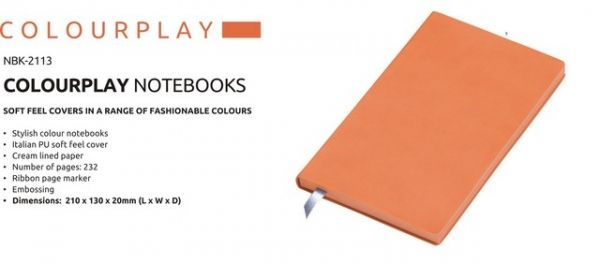 A5 Colour Play Notebook  Colour Play Notebook Stylish Colour Notebook Italian PU Soft Feel Cover Cream Lined Paper Number of Pages : 232 Ribbon Page Marker Brand by Embossing  Dimensions : 210 × 130 × 20 (L x W x D) Orange Colour