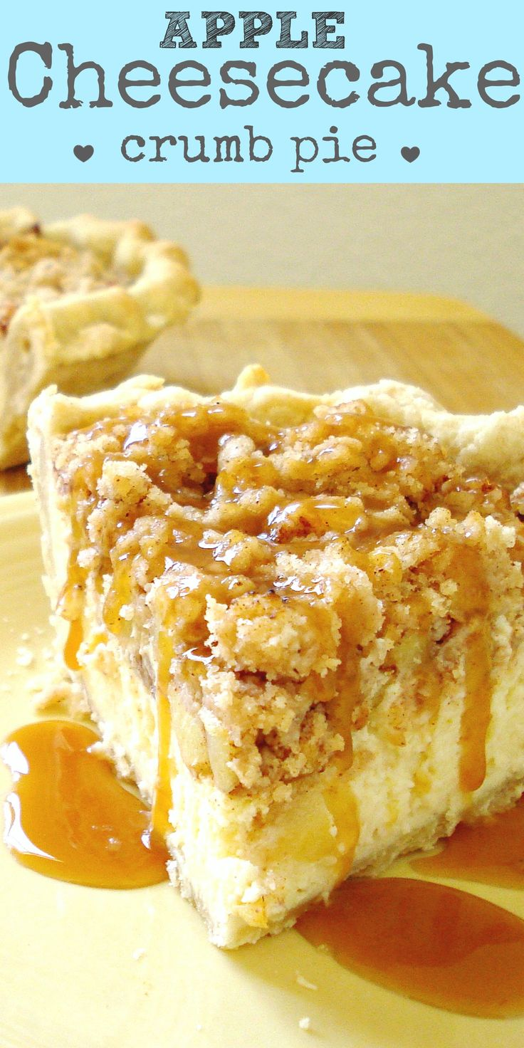 Apple cheesecake pie. Cheesecake in a pie crust with apple cobbler on top. Yeah, babe. It's good.