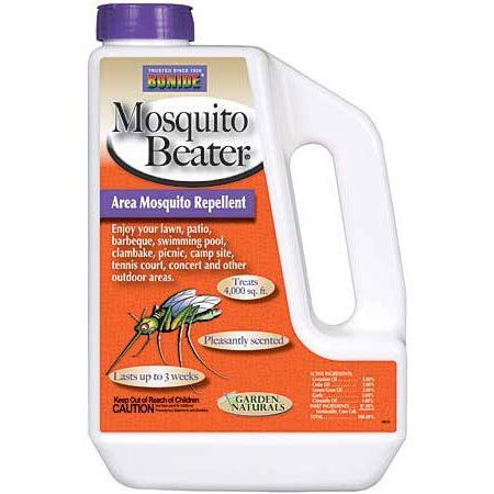 Bonide Mosquito Beater Granules contain cedar oil, citronella oil, geranium oil, lemon grass oil and garlic to repel these annoying/ biting insect pests.