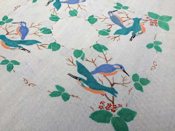 Linen Tablecloth. Jacquard Damask Vintage Linen Tablecloth.