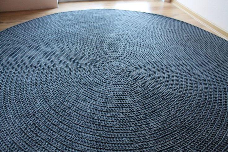 Dywan ręcznie robiony ciemny szary DUŻY