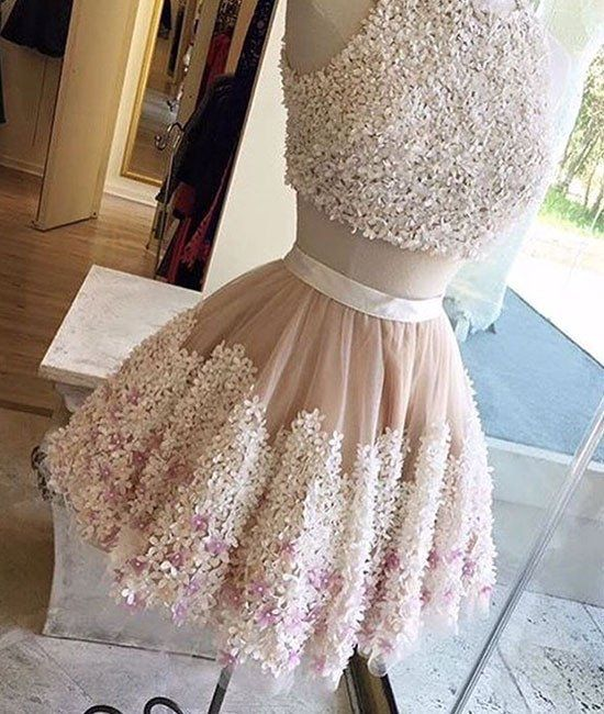 homecoming dresses,cute two pieces applique short prom dress, homecoming dress