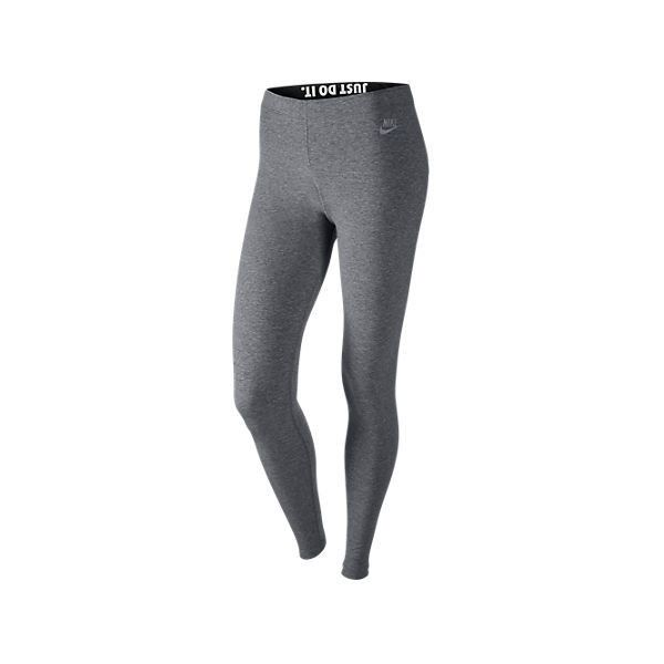 Nike Women's Leg-A-See Just Do It Metal Leggings, Grey (63 AUD) ❤ liked on Polyvore featuring pants, leggings, grey, metallic leggings, gray yoga pants, patterned leggings, nike pants and gray yoga leggings