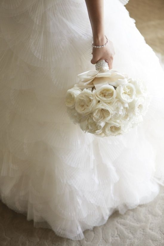 The classic white rose bouquet