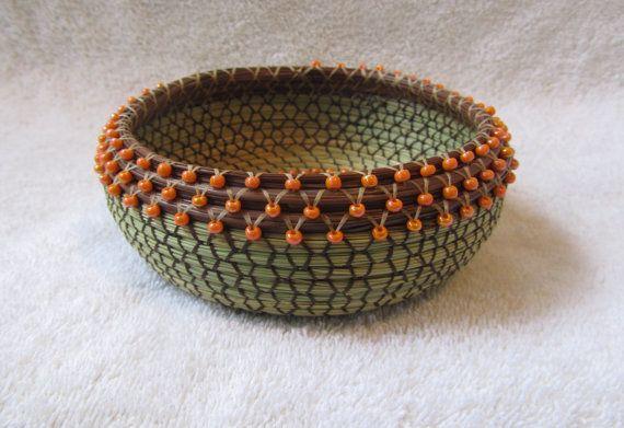 Beaded Sweet grass pine needle Basket 356 by pineneedleperfection