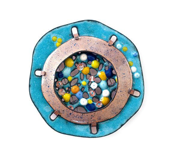 Enamel Brooch in Blue  Art Jewelry  Conceptual Jewelry