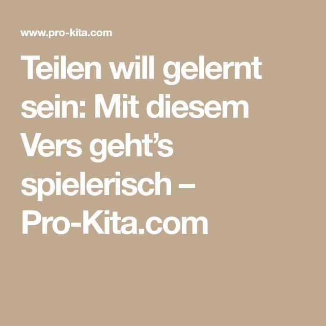 Teilen will gelernt sein: Mit diesem Vers geht's spielerisch – Pro-Kita.com