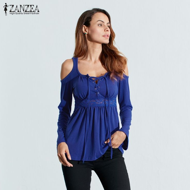 Cheap blouse green, Buy Quality shirt styles for men directly from China shirts for women 2013 Suppliers: ZANZEA Women Blouses Autumn 2017 Sexy Blusas V Neck Long Sleeve Off Shoulder Lace Up Casual Tops Tee Solid Shirts Plus Size