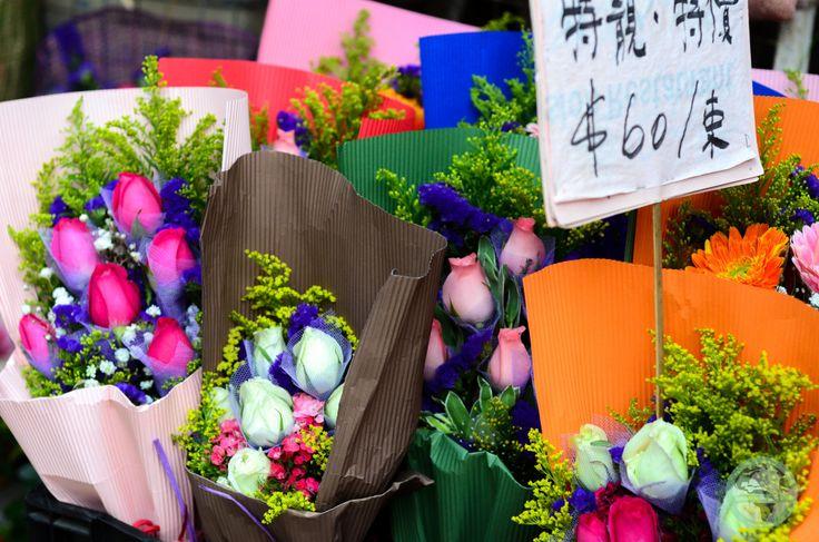 A beautiful flower market in Prince Edward, Hong Kong