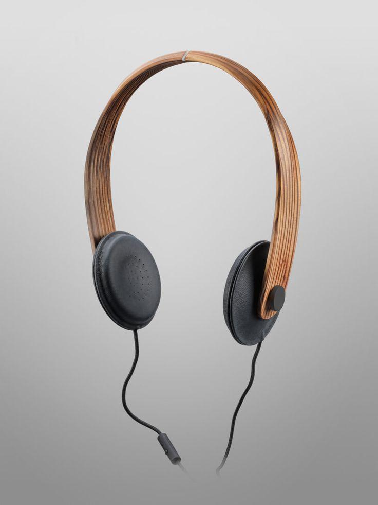 Slimline headphone design. bois densifié / Helsinki 2012. #headphones #cans http://www.pinterest.com/TheHitman14/headphones-microphones-%2B/