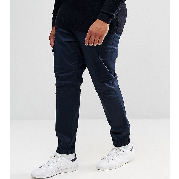 ASOS PLUS Skinny Woven Cargo Pants In Navy ($40) ❤ liked on Polyvore featuring men's fashion, men's clothing, men's pants, men's casual pants, navy, mens skinny fit dress pants, mens tall pants, tall mens cargo pants, mens super skinny dress pants and mens cuffed pants