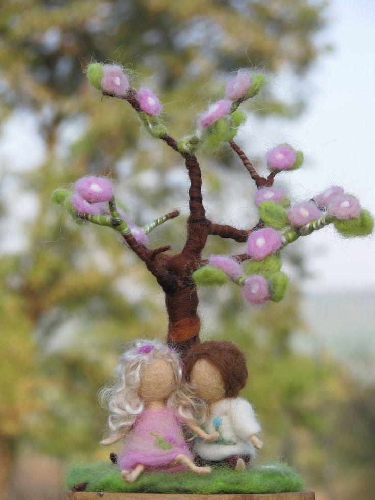 Needle felted spring tree decoration waldorf door Made4uByMagic