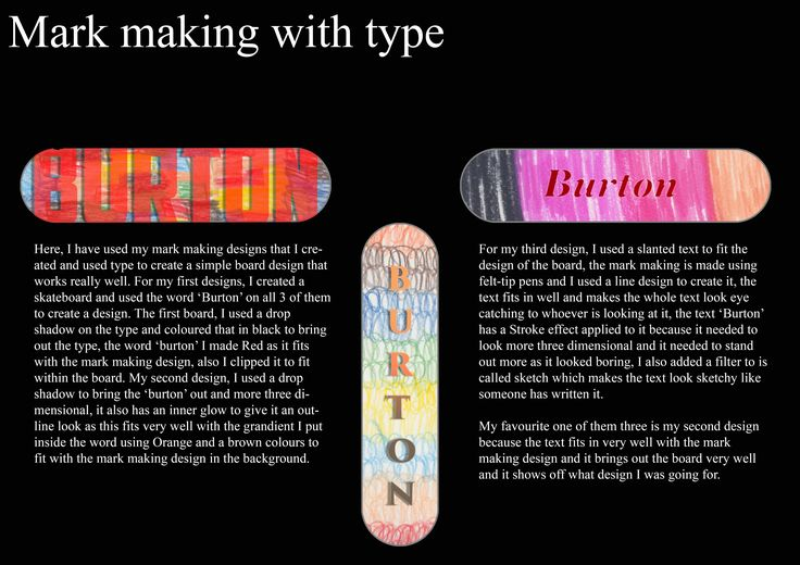 Board Project BookWork Page 6 Mark Making With Type