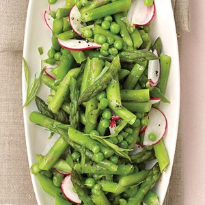 Asparagus, Peas, and Radishes with Fresh Tarragon. Good spring dish. Great way to use tarragon - I was short on tarragon and added some mint. It was good.