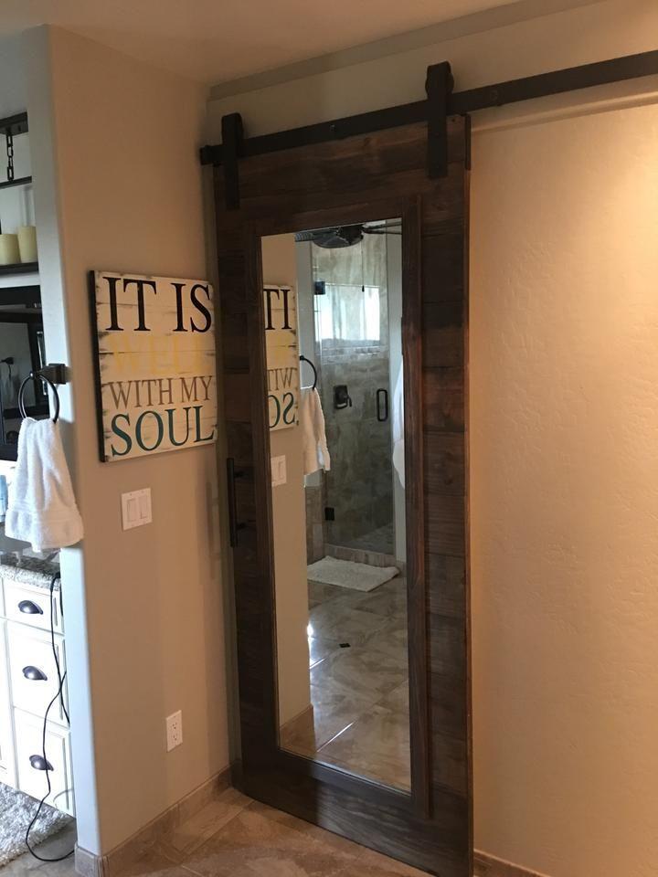 Horizontal Plank Mirrored Door In 2020 With Images Interior Sliding Barn Doors Mirror Door Barn Doors Sliding