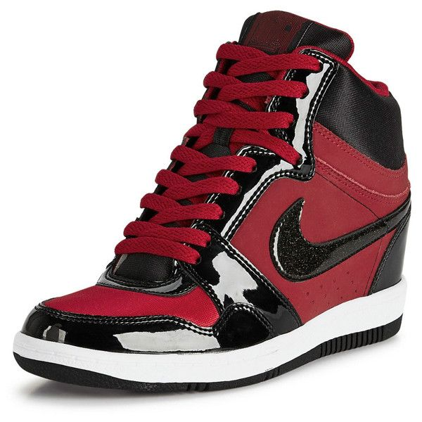 Nike Force Sky Hi Gym Red/Black ($85) ❤ liked on Polyvore featuring shoes, sneakers, black high tops, high top sneakers, high top wedge sneakers, wedge heel sneakers and red high tops