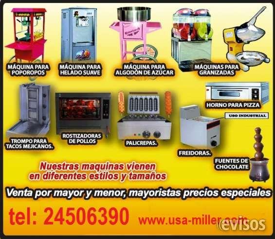 Máquinas de granizada, poporoperas, palomitas de maíz, palicrepas, milk shake, choco milk,