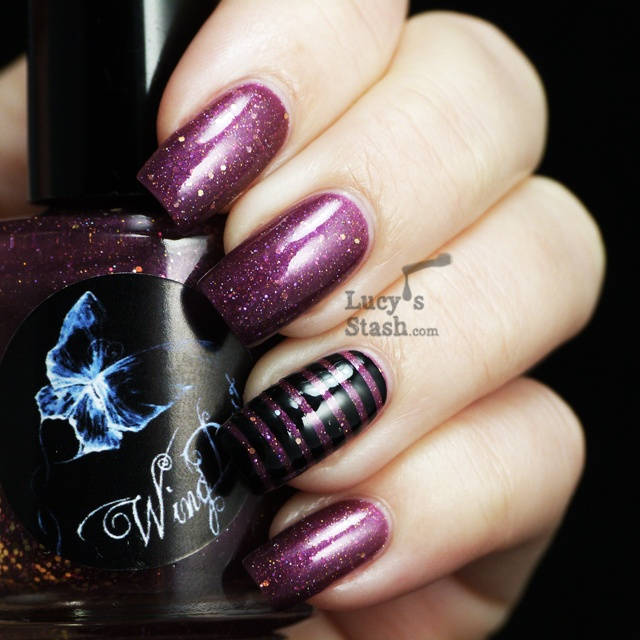 WingDust Plum Outta Ideas - Review, swatches and simple stripy nail art with tutorial