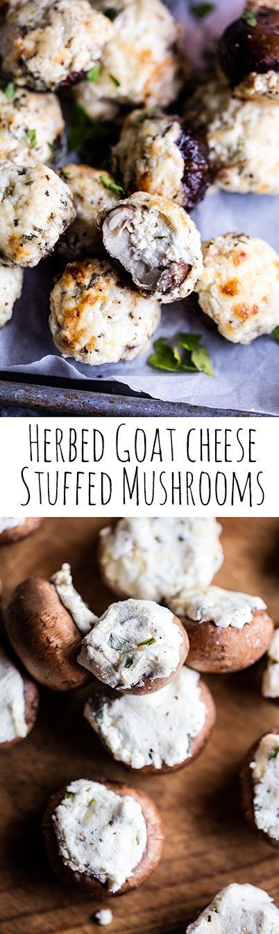 Herbed Goat Cheese Stuffed Mushrooms | halfbakedharvest.com @hbharvest.com
