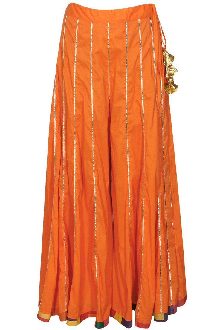 AYINAT BY TANIYA O'CONNOR Cream gota embroidered kurta with orange sharara pants and dupatta available only at Pernia's Pop-Up Shop.