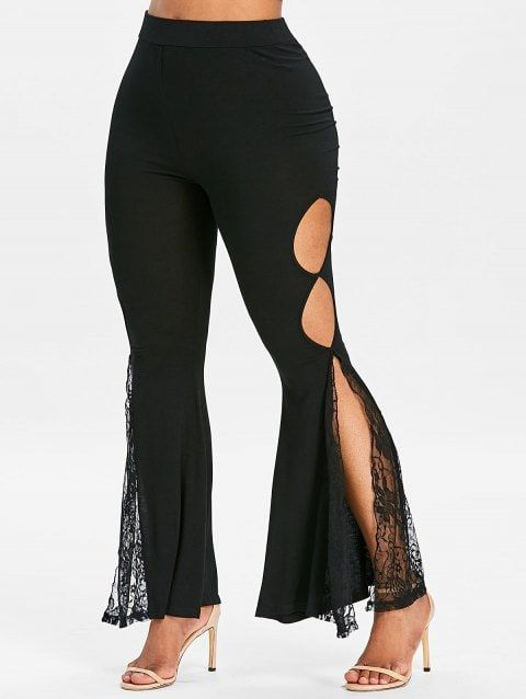 High Slit Cut Out Lace Insert Flare Pants