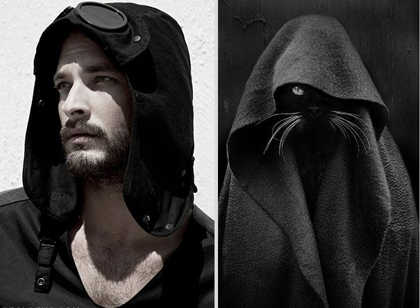I SO GAWFTH AN' SPOOKY!!! Girls' Favorite Things Brought Together: 25 Diptychs of Hot Guys and Kittens   Bored Panda