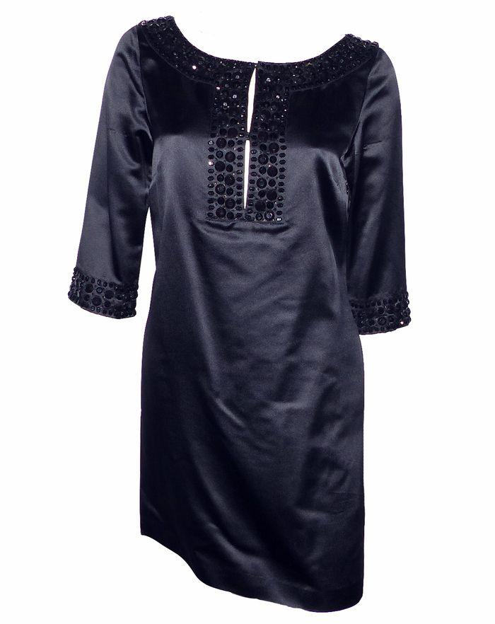 depot vente de luxe en ligne red valentino robe en soie noire et perles | TendanceShopping.com