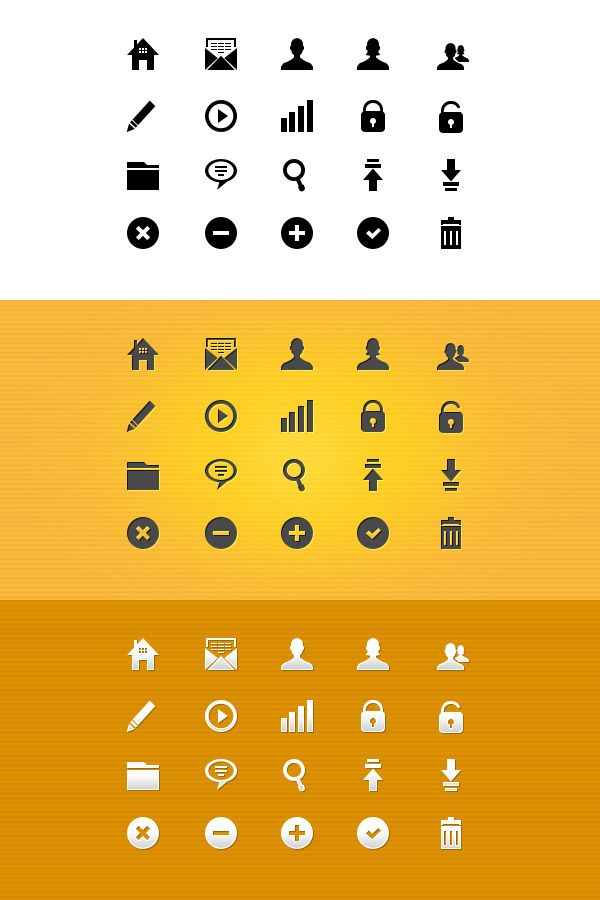 GraphicsFuel.com | 20 pixel-perfect glyph icons (vector PSD)