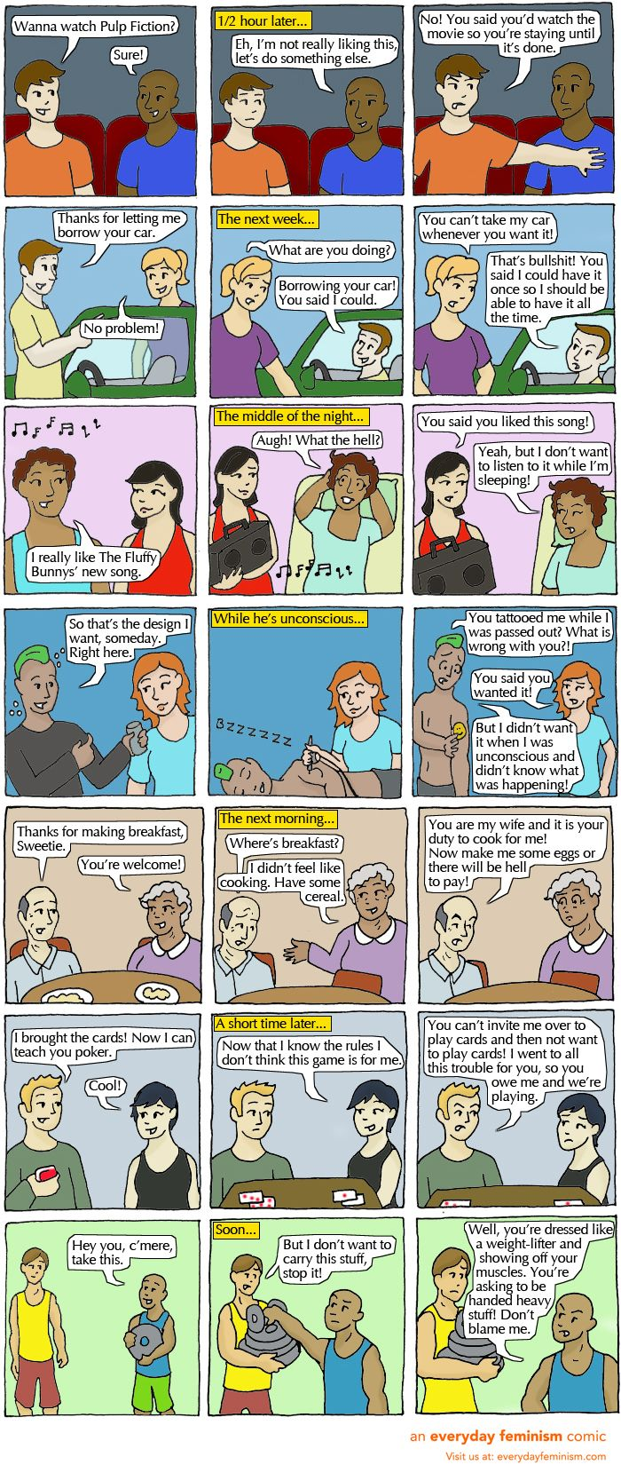 What If We Treated All Consent Like Society Treats Sexual Consent? by Everyday Feminism || I love these kinds of comics. They explain things so well.