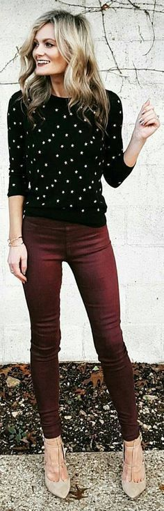 Super cute black dot top paired with wine stained denim. Love this look for Fall or Winter. Throw on a cozy jacket to keep you warm.