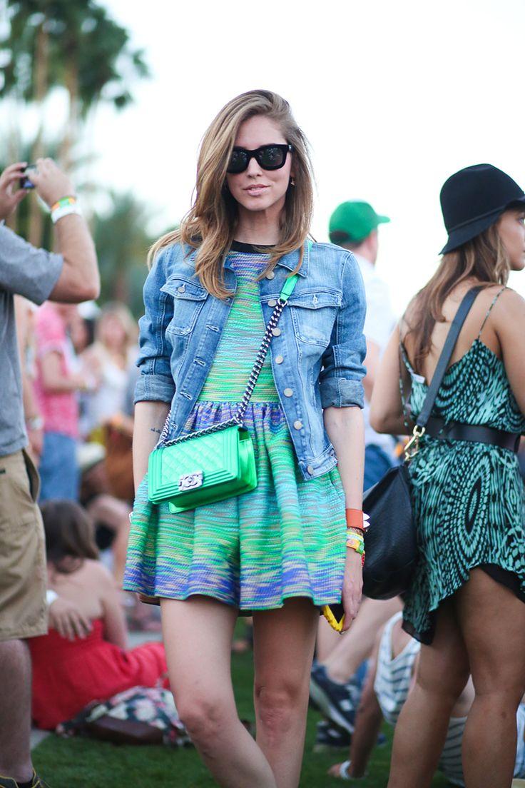 Chiara Ferragani in green and blue #coachella2014