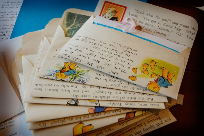 children's books turned envelopes...might be worth going to a library book sale to pick up some older books and repurpose their paper (i can see them being used as wrapping paper, scrapbook backgrounds, wall art for a kid's room, etc.)
