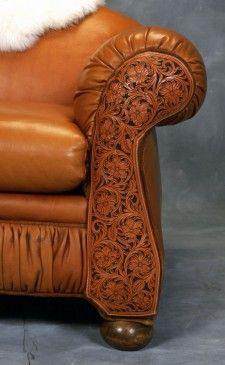 tooled leather western sofa from RusticArtistry.com http://rusticartistry.com/product/the-catalina-sof/