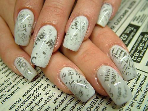 37 Best Nails Manicure Ideas Ever. Newsprint Nails. via Fashion Diva Design.