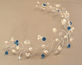 Capri Blue Blend Wedding Gown Tiara, Hair Vine Tiaras, Pearl and Crystal Headpiece, Horizon Blue Weddings