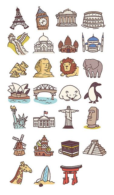 Travel Icons Pt.2 by Anneka Tran, via Flickr