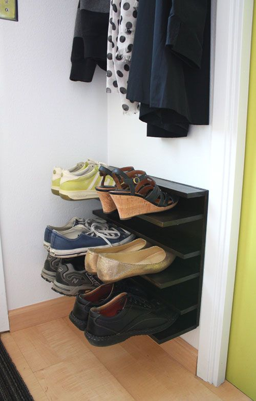 not martha u2014 diy shoe rack for a tight space so smart i desperately need to get all of the shoes off of our floor by the back door