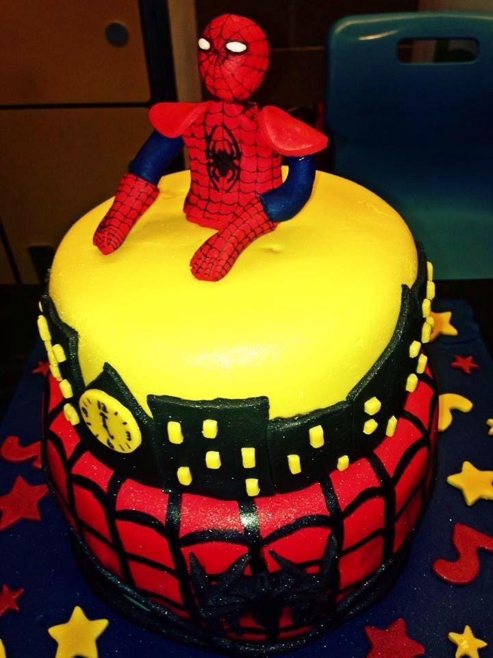 Red velvet Spider-Man birthday cake